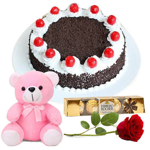 Tasty Ferrero Rocher with Black Forest Cake, Rose N Teddy