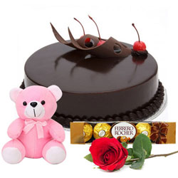 Lip-Smacking Eggless Chocolate Cake with Teddy, Rose N Ferrero Rocher