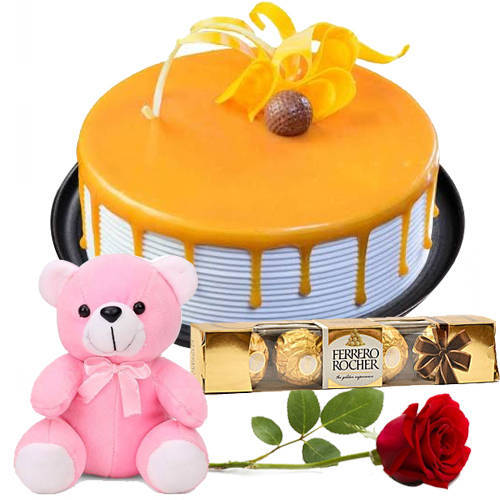 Yummy Eggless Butterscotch Cake with Ferrero Rocher, Teddy N Rose