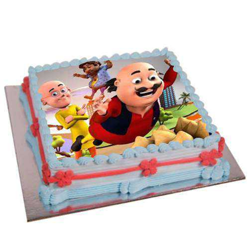 Yummy Motu Patlu Photo Cake for Kids
