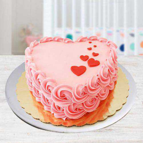 Tasty Heart Shaped Strawberry Cake