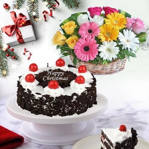 Delightful Black Forest Cake N Flower Basket Xmas Combo