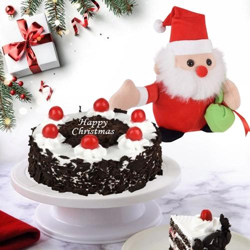 Pleasant X mas Combo of Black Forest Cake with Santa Clause