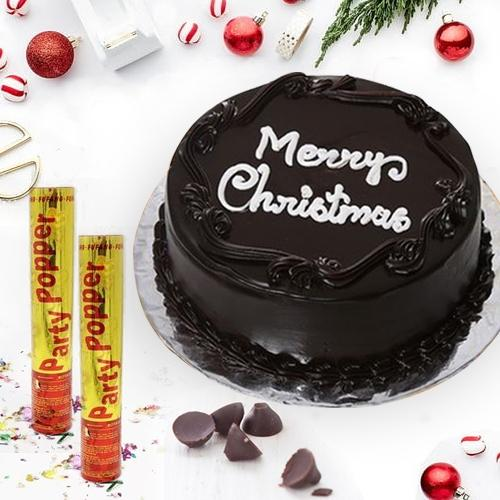 Enjoyable Merry-Christmas Chocolate Cake with Party Poppers