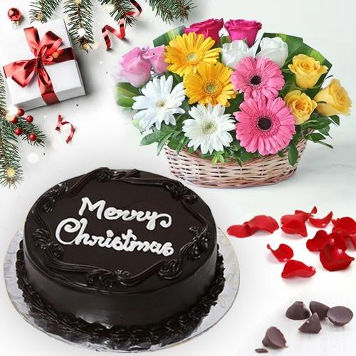 Signature Merry-Xmas Chocolate Cake with Mixed Floral Basket