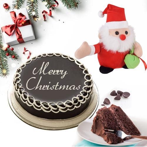 Chocolaty Cake N Santa Clause Gift Combo for Xmas Celebration