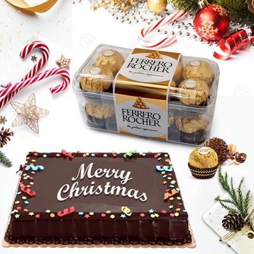 Lavish Chocolate Cake N Ferrero Rocher Gift Pack for Xmas