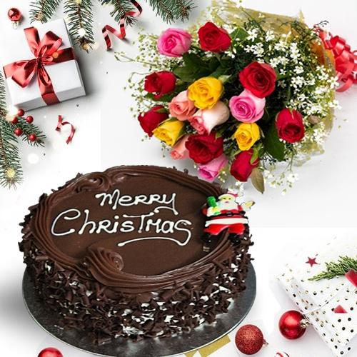 Lovely Selection ofMixed Roses with Merry-Xmas Chocolate Cake