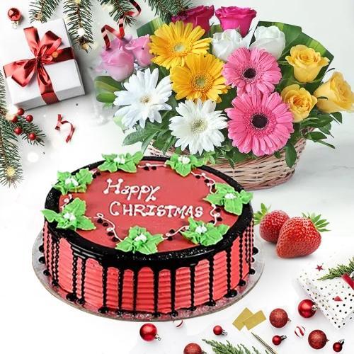 Cheerful Flower Basket with Yummy Strawberry Cake XMas Gift