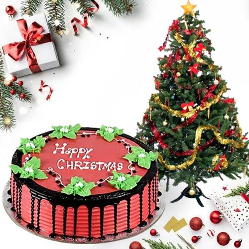 Elegant Gift of Finest Strawberry Cake with Xmas Tree