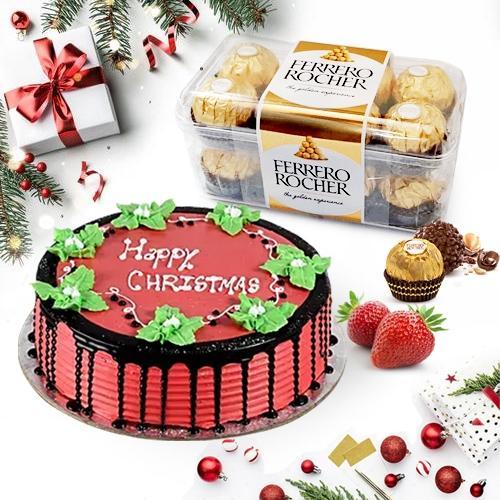 Angelic Xmas Special Strawberry Cake with Ferrero Rocher
