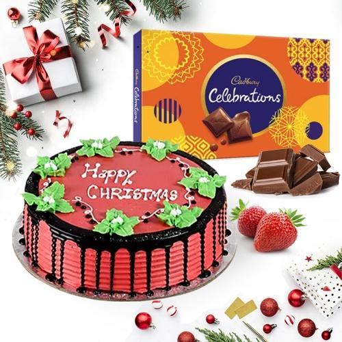 Yummy Strawberry Cake with Assorted Cadbury Chocolates