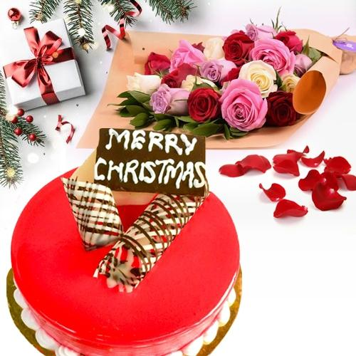 Pleasurable Gift Pack of Strawberry Cake N Colorful Roses
