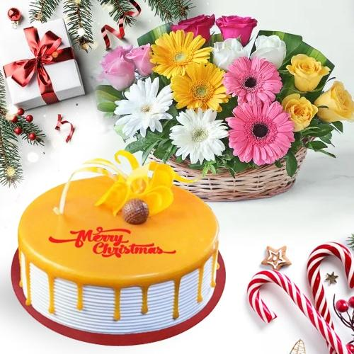 Classic Combo of Butterscotch Cake with Floral Basket