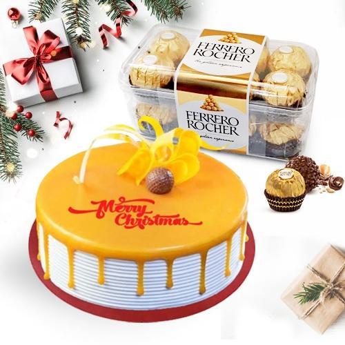 Luscious Xmas Gift of Butterscotch Cake with Ferrero Rocher