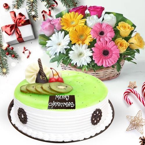 Amusing Kiwi Cake with Seasonal Flowers Basket