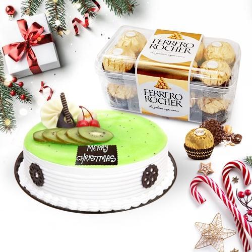 Marvelous Kiwi Cake with Ferrero Rocher Chocolate Box