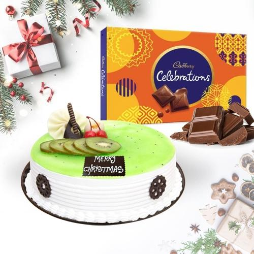 Enticing Kiwi Cake with Cadbury Celebrations Pack