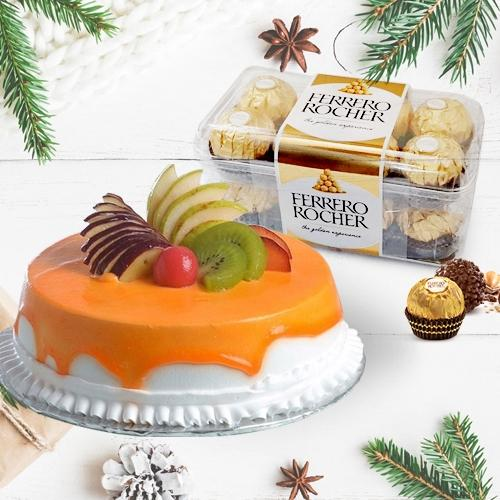 Delectable Fresh Fruits Cake with Ferrero Rocher