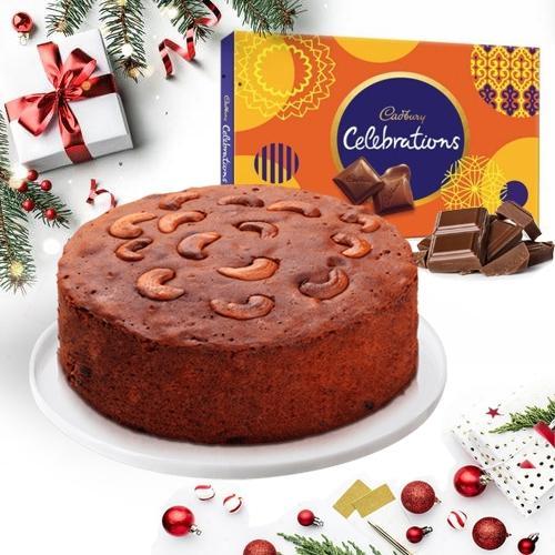 Yummy Dry Plum Cake with Cadbury Celebrations Pack
