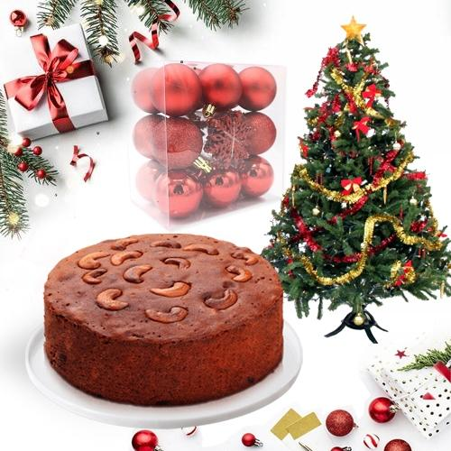 Amazing Dry Plum Cake with Christmas Tree n Decorations