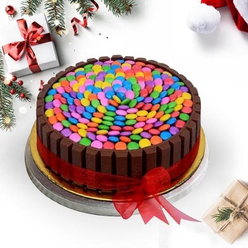 Extraordinary XMas Treat - KitKat Gems Cake