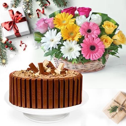 Tasty KitKat Cake with Seasonal Flower Basket