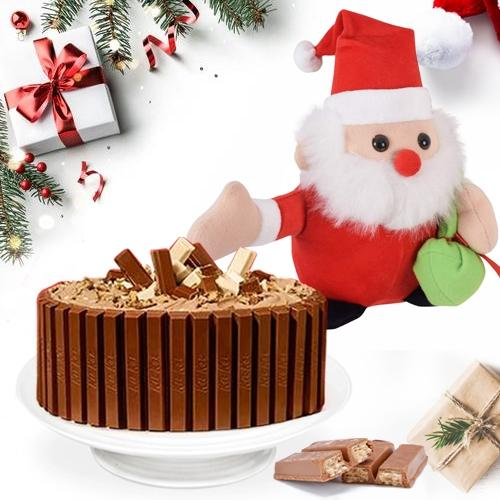 Angelic Kitkat Cake with Santa Clause for X mas