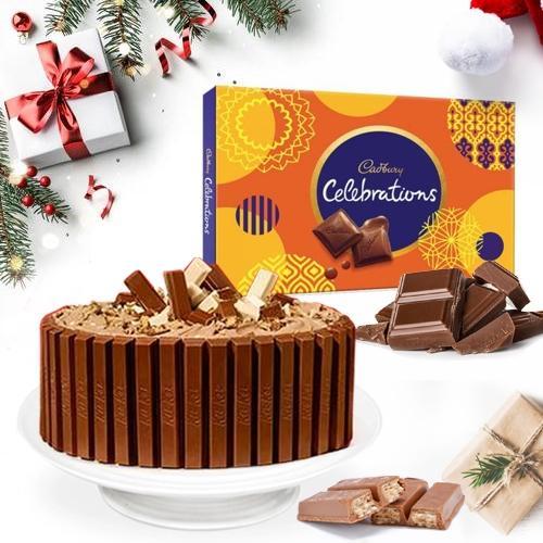 Pleasant Kitkat Cake with Cadbury Celebration Chocolates