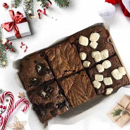 Savory Treat of 6 Fresh-Baked Brownie for Xmas