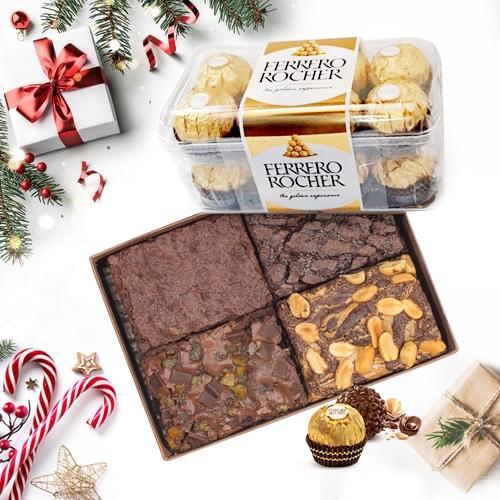 Angelic X mas Special Brownies with Ferrero Rocher