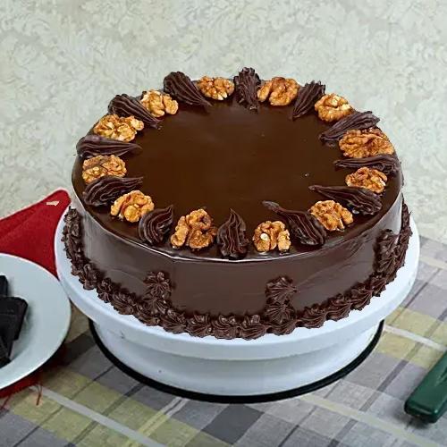 Chocolate-Draped Walnut Cake