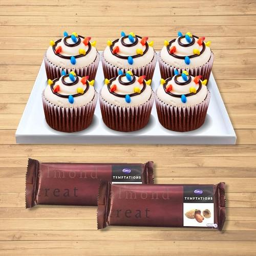 Tempting Combo of Cup Cakes with Cadbury Temptations