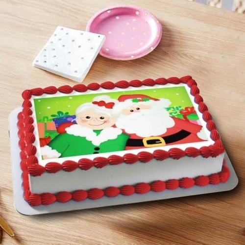 Finest X-mas Gift of Santa Claus Photo Cake