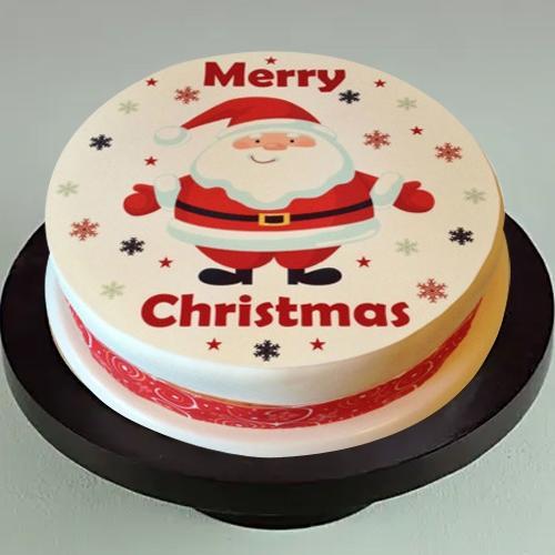 Lavish Treat of Santa Claus Merry Christmas Photo Cake