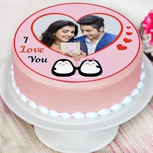 Lavish Personalized Photo Cake in Strawberry Flavor for Propose Day
