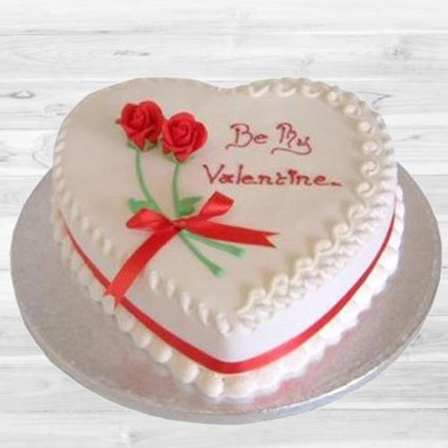 Delicious Gift of Heart Shape Be My Valentine Vanilla Cake