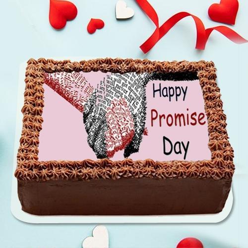 Pleasurable Promise Day Photo Print Chocolate Cake