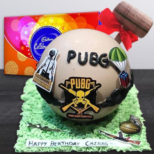 Amusing PUBG Styled Piñata Cake with Hammer n Cadbury Celebrations Pack