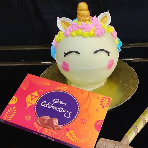 Ambrosial Unicorn Piñata Cake with Cadbury Celebrations  Pack