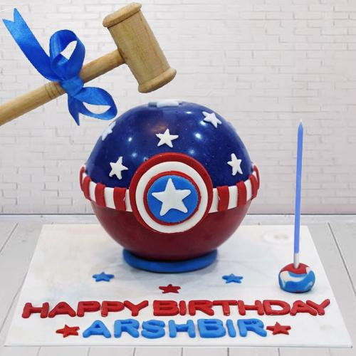 Sumptuous Captain America Piñata Cake with Hammer for Kids