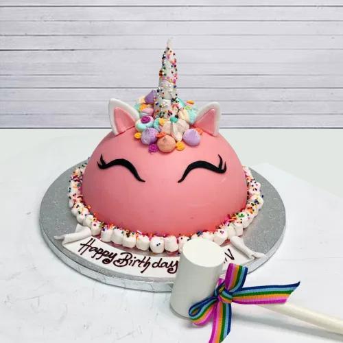 Exclusive Unicorn Design Piñata Cake with Hammer