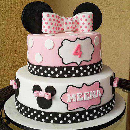 Delectable Minnie Mouse Two Tier Cake for Birthday