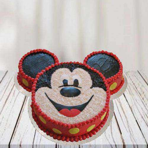 Delicate Mickey Mouse Shape Cake for Kids Party