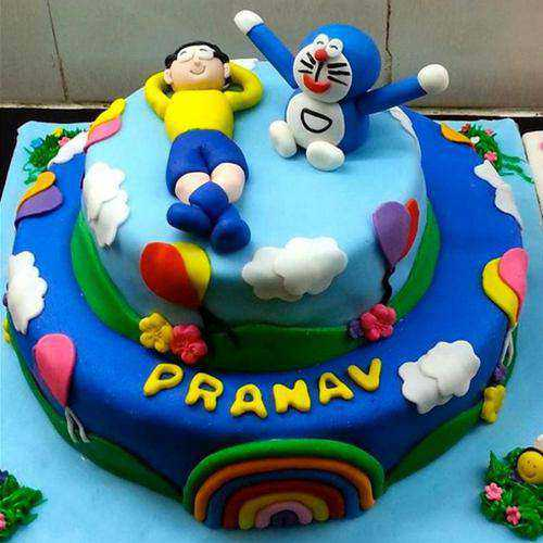 Delicate Doremon Theme Cake for Youngster