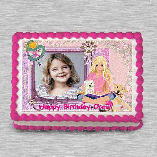 Finest Barbie Personalized Photo Cake for Kids Party