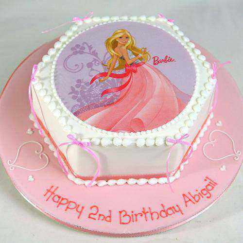 Wholesome Barbie Photo Cake for Birthday
