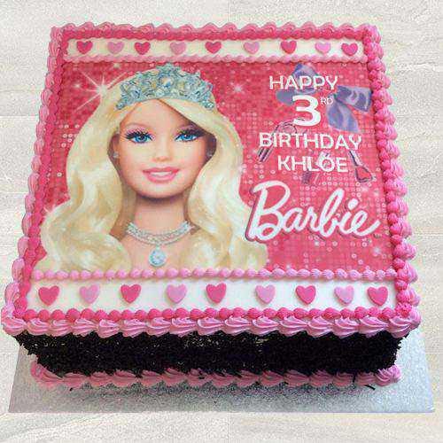 Fresh-Baked Barbie Photo Cake for Children