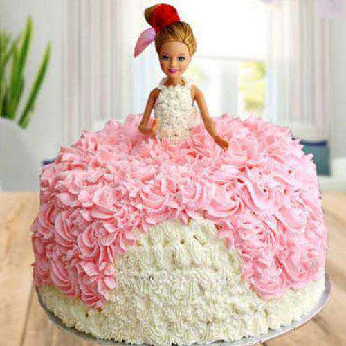 Sweet White Forest Barbie Cake for Kids Party