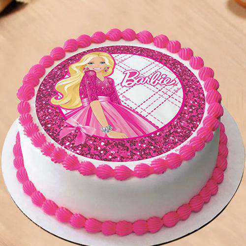 Velvety Barbie Photo Cake for Little one